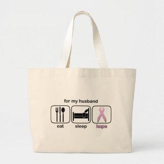 Husband Eat Sleep Hope - Breast Cancer Bags