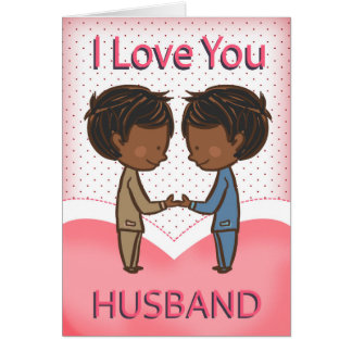 Husband, Gay, Cute Loving African American Couple Greeting Card