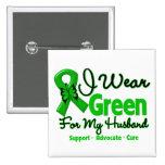 Husband - Green  Awareness Ribbon 15 Cm Square Badge