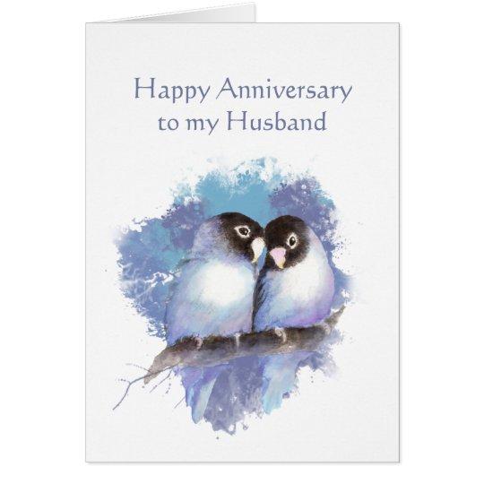 Husband Happy Anniversary Blue Love Birds Card