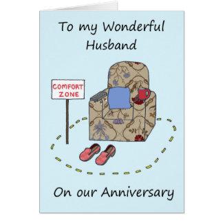 Husband Happy Anniversary Comfort Zone Card