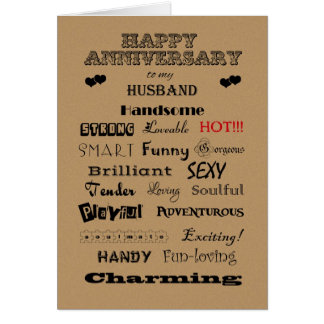 Husband Happy Anniversary Words of Praise Greeting Card