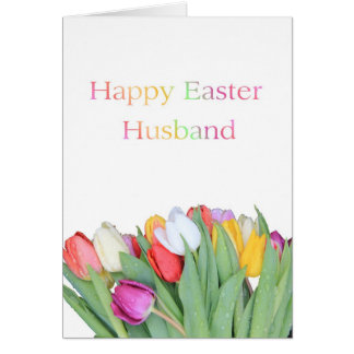 Happy easter to husband gifts t shirts art posters other husband happy easter tulip card negle Image collections