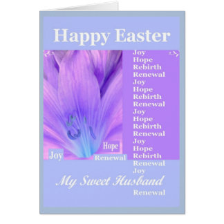 Happy easter to husband gifts t shirts art posters other husband happy easter with lily purple amp blue card negle Image collections
