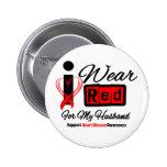 Husband  -  I Wear Red Ribbon Heart Disease 6 Cm Round Badge