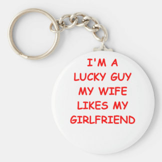 husband basic round button keychain