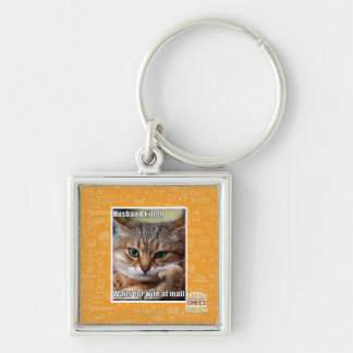 Husband Kitteh Silver-Colored Square Key Ring