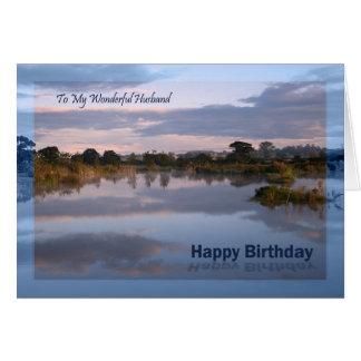 Husband, Lake at dawn Birthday card