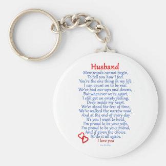 Husband Love Basic Round Button Key Ring