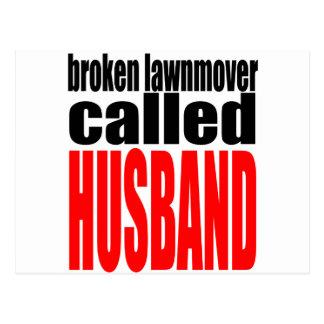husband marriage joke lawnmover newlywed reality q postcard