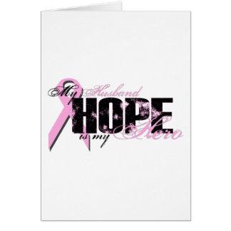 Husband My Hero - Breast Cancer Hope Greeting Card