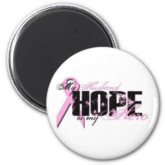 Husband My Hero - Breast Cancer Hope Fridge Magnet