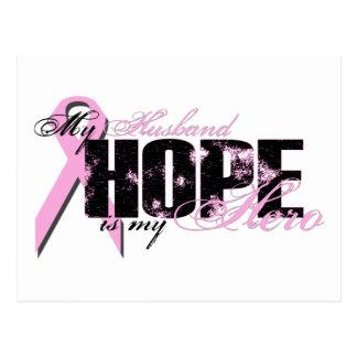 Husband My Hero - Breast Cancer Hope Postcard