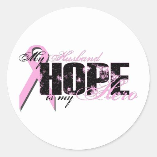 Husband My Hero - Breast Cancer Hope Round Sticker