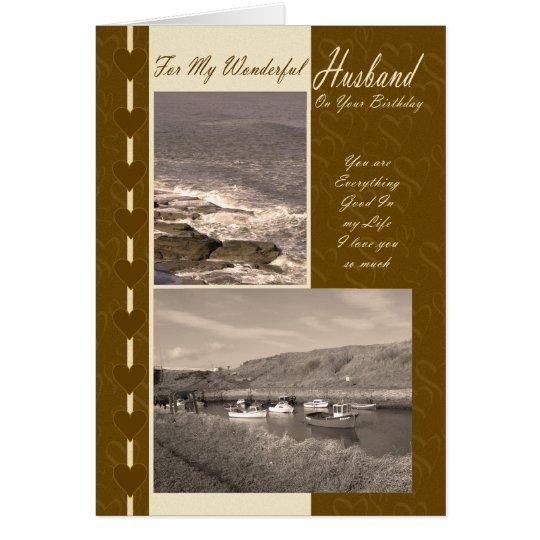 Husband On Your Birthday Coastal boats Card