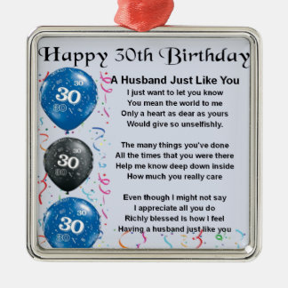 Husband Poem -  30th Birthday Christmas Ornament