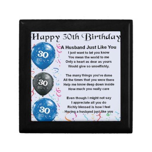 Husband Poem - 30th Birthday Small Square Gift Box