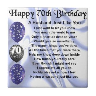 Husband Poem - 70th Birthday Tile