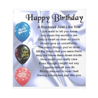 Husband Poem - Happy Birthday Notepad