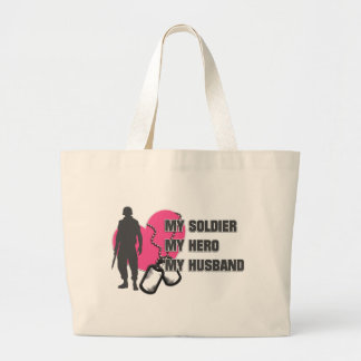 Husband Soldier Pink Heart Large Tote Bag