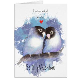 Husband Valentine Love Blue Lovebirds Bird Art Card