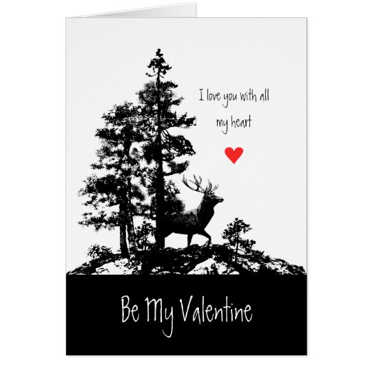 Husband Valentine Love Heart Vintage Stag Deer Art