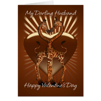 Husband Valentine's Day Card With Giraffs