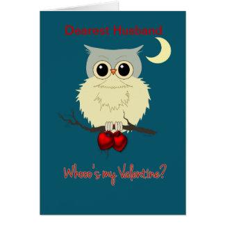 Husband Valentine's Day Cute Owl Humor Greeting Card