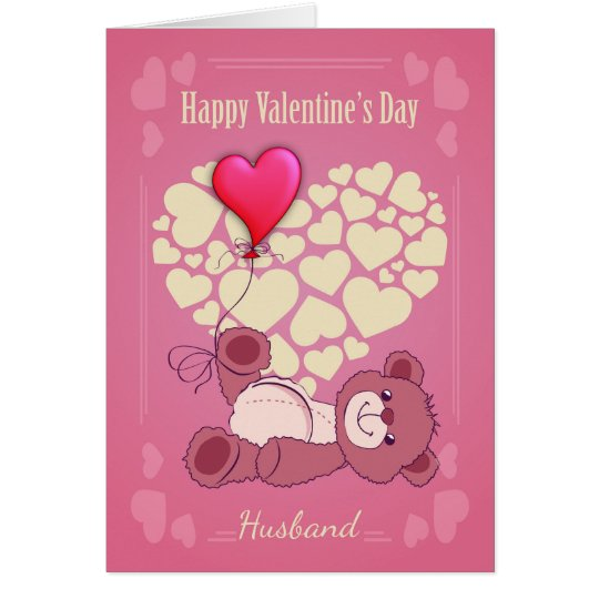 Husband, Valentine's Day With Teddy Bear And Heart Card