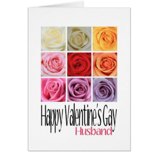 Husband Valentine's Gay, Rainbow Roses Card
