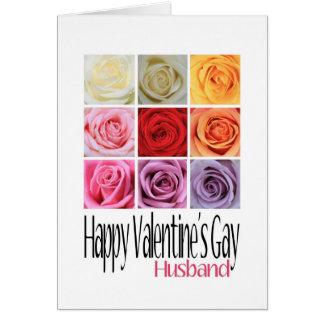 Husband Valentine's Gay, Rainbow Roses Greeting Card