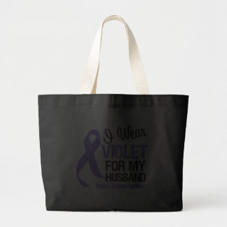 Husband Violet Ribbon Hodgkins Lymphoma Jumbo Tote Bag