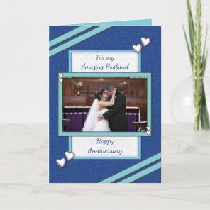 Husband Wedding Anniversary photo blue greeting Card