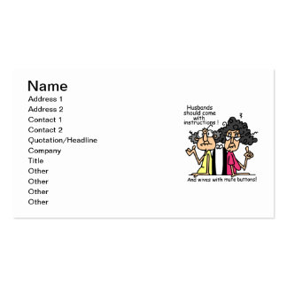 Husbands and Wives Attitude Humor Business Card Template