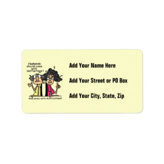 Husbands and Wives Attitude Humor Address Label