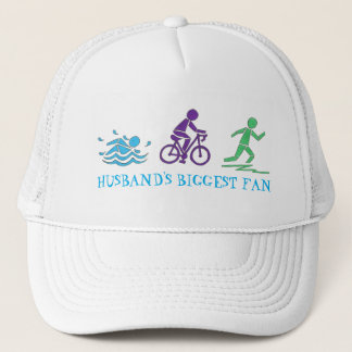 Husband's Biggest Fan Triathlon Ironman Swim Bike Trucker Hat