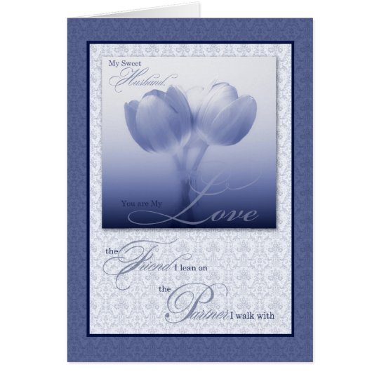 Husband's Birthday Sentimental Blue Tulips Card