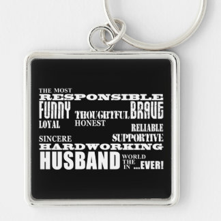 Husbands Wedding Anniversaries Birthdays Qualities Silver-Colored Square Key Ring