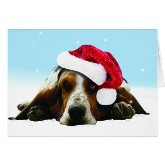 Hush puppy with santa hat greeting card
