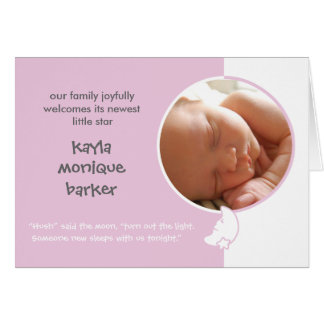 Hush Said the Moon Birth Announcement - Pink Note Card