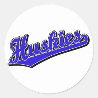 Huskies in Blue Classic Round Sticker