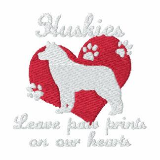 Huskies Leave Paw Prints Dark Embroidered Hoody