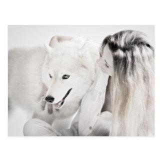 Husky and girl postcard