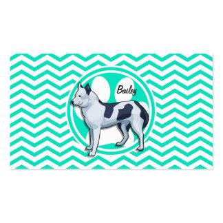 Husky Aqua Green Chevron Business Cards