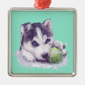 Husky Blues Christmas Ornament