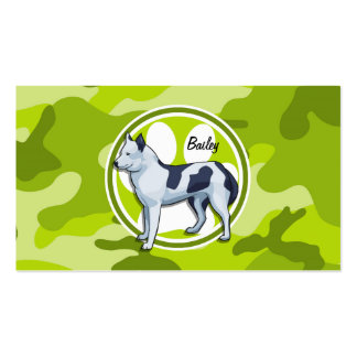 Husky bright green camo camouflage business card template