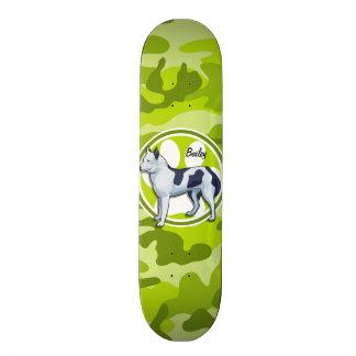 Husky; bright green camo, camouflage skate decks
