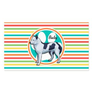 Husky Bright Rainbow Stripes Business Card Templates