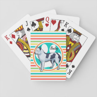 Husky; Bright Rainbow Stripes Playing Cards