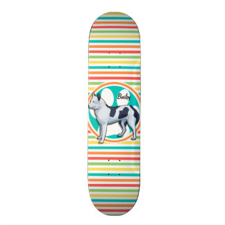 Husky; Bright Rainbow Stripes Skateboard
